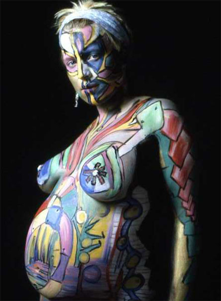 andreas matthes pregnant body paint